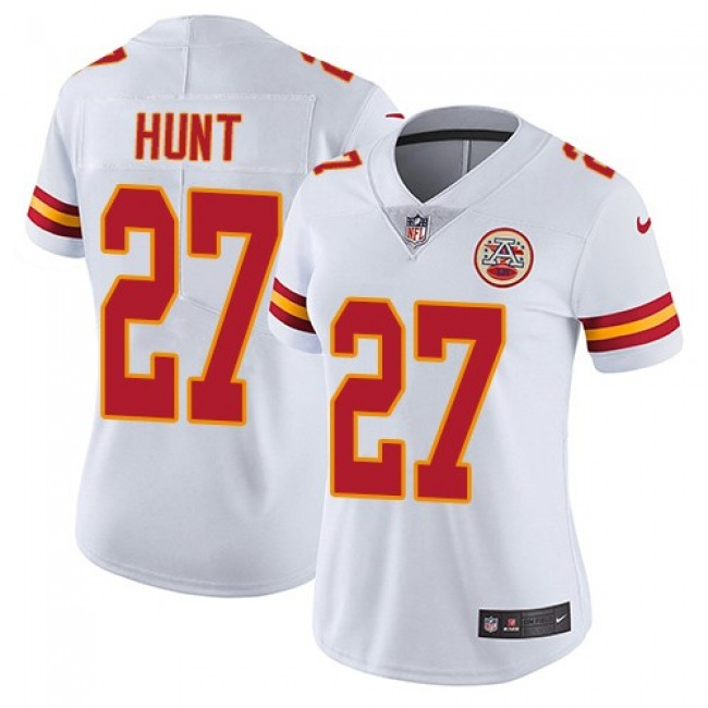 Women's Chiefs #27 Kareem Hunt White Stitched NFL Vapor Untouchable Limited Jersey