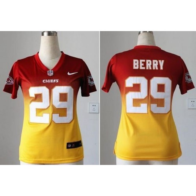 Women's Chiefs #29 Eric Berry Red Gold Stitched NFL Elite Fadeaway Jersey