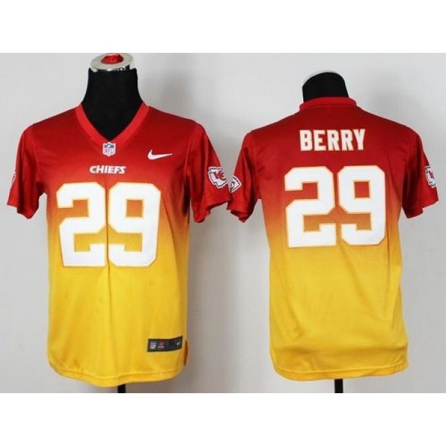 Kansas City Chiefs #29 Eric Berry Red-Gold Youth Stitched NFL Elite Fadeaway Fashion Jersey