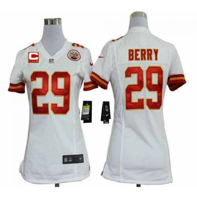 Women's Chiefs #29 Eric Berry White With C Patch Stitched NFL Elite Jersey