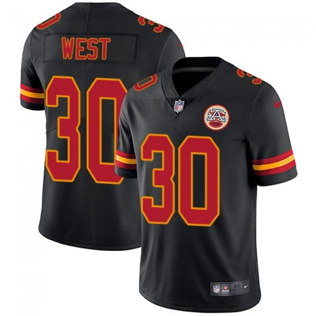 Nike Chiefs #30 Charcandrick West Black Men's Stitched NFL Limited Rush Jersey