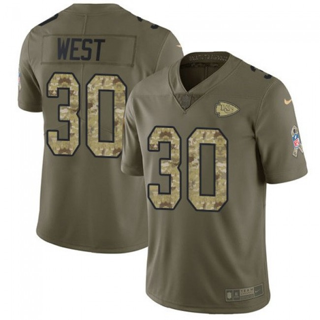 Nike Chiefs #30 Charcandrick West Olive/Camo Men's Stitched NFL Limited 2017 Salute To Service Jersey