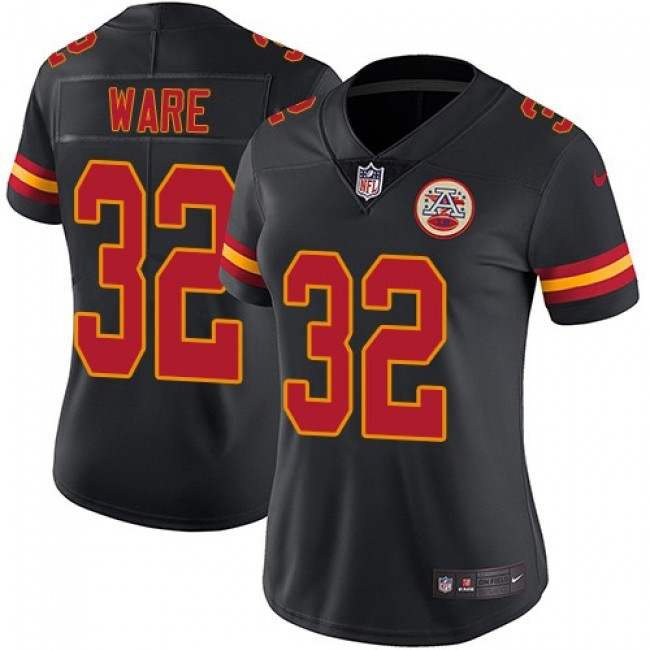 Women's Chiefs #32 Spencer Ware Black Stitched NFL Limited Rush Jersey