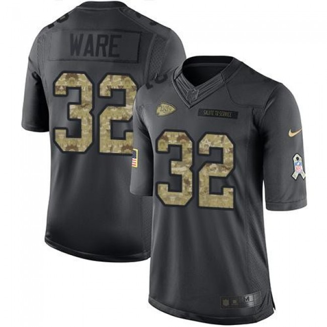 Kansas City Chiefs #32 Spencer Ware Black Youth Stitched NFL Limited 2016 Salute to Service Jersey