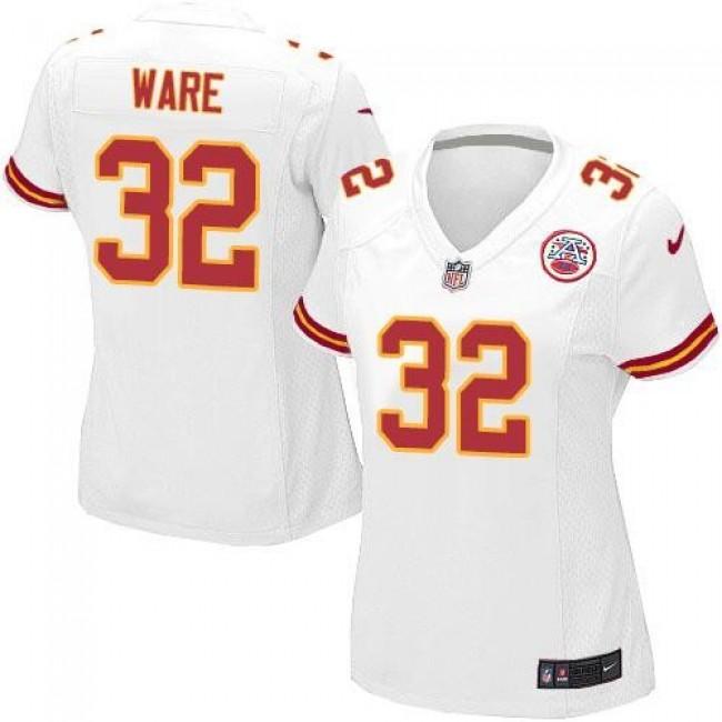 Women's Chiefs #32 Spencer Ware White Stitched NFL Elite Jersey