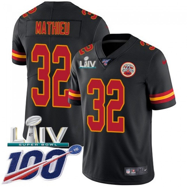 Nike Chiefs #32 Tyrann Mathieu Black Super Bowl LIV 2020 Men's Stitched NFL Limited Rush 100th Season Jersey