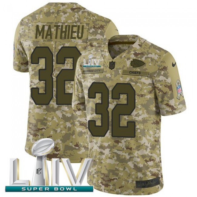 Nike Chiefs #32 Tyrann Mathieu Camo Super Bowl LIV 2020 Men's Stitched NFL Limited 2018 Salute To Service Jersey