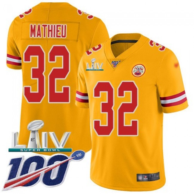 Nike Chiefs #32 Tyrann Mathieu Gold Super Bowl LIV 2020 Men's Stitched NFL Limited Inverted Legend 100th Season Jersey