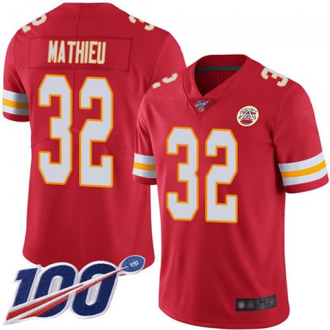 Nike Chiefs #32 Tyrann Mathieu Red Team Color Men's Stitched NFL 100th Season Vapor Limited Jersey