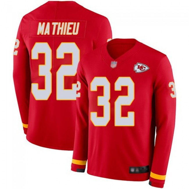 Nike Chiefs #32 Tyrann Mathieu Red Team Color Men's Stitched NFL Limited Therma Long Sleeve Jersey