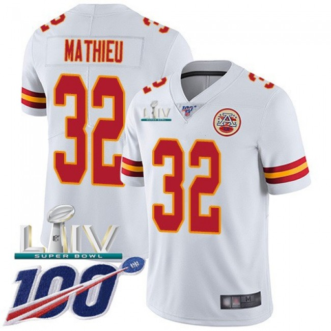 Nike Chiefs #32 Tyrann Mathieu White Super Bowl LIV 2020 Men's Stitched NFL 100th Season Vapor Untouchable Limited Jersey