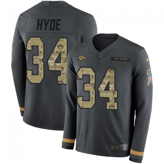 Nike Chiefs #34 Carlos Hyde Anthracite Salute to Service Men's Stitched NFL Limited Therma Long Sleeve Jersey