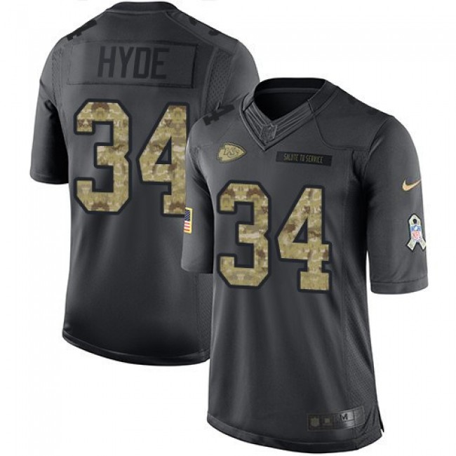 Nike Chiefs #34 Carlos Hyde Black Men's Stitched NFL Limited 2016 Salute to Service Jersey