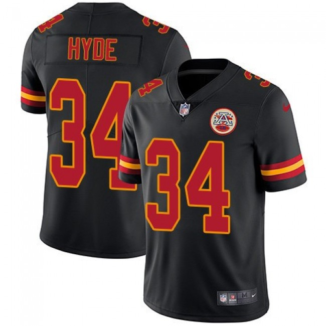 Nike Chiefs #34 Carlos Hyde Black Men's Stitched NFL Limited Rush Jersey