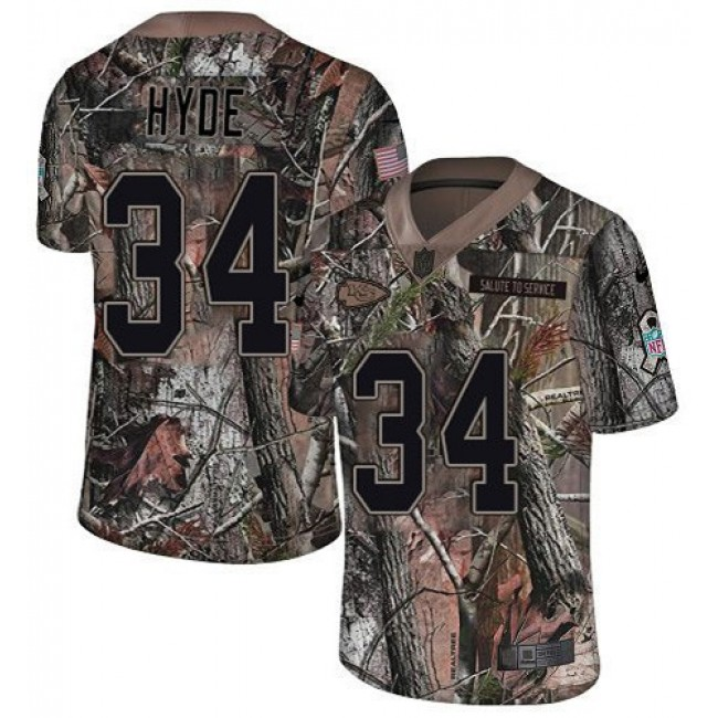 Nike Chiefs #34 Carlos Hyde Camo Men's Stitched NFL Limited Rush Realtree Jersey