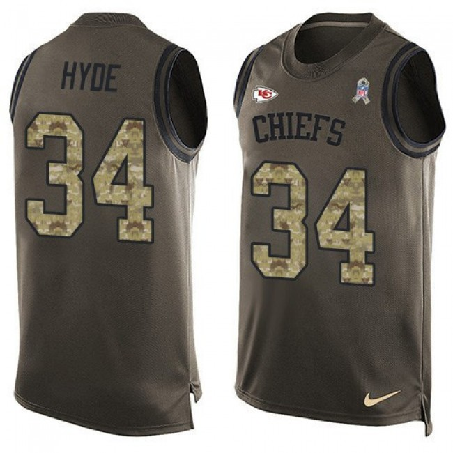 Nike Chiefs #34 Carlos Hyde Green Men's Stitched NFL Limited Salute To Service Tank Top Jersey