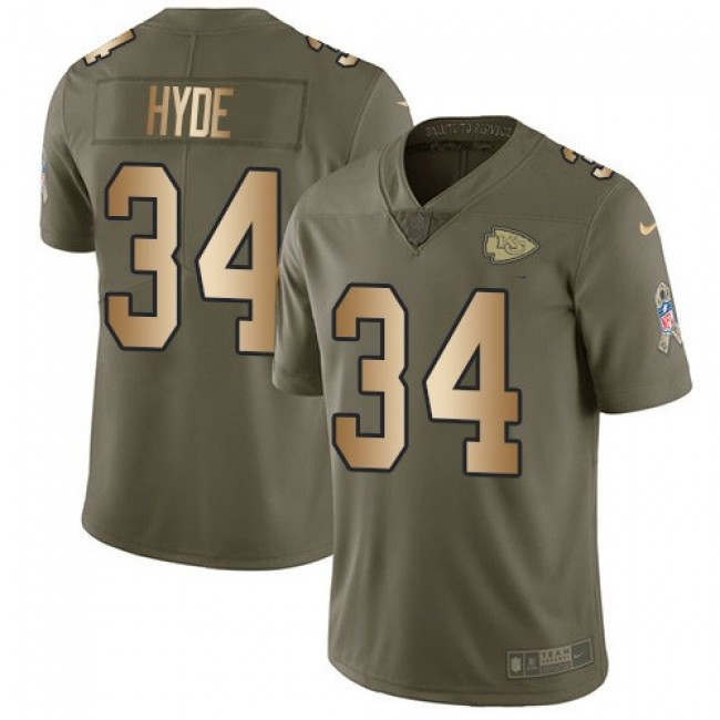 Nike Chiefs #34 Carlos Hyde Olive/Gold Men's Stitched NFL Limited 2017 Salute To Service Jersey