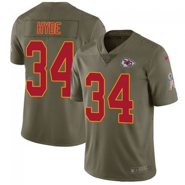 Nike Chiefs #34 Carlos Hyde Olive Men's Stitched NFL Limited 2017 Salute to Service Jersey