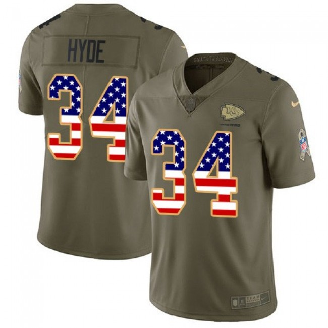 Nike Chiefs #34 Carlos Hyde Olive/USA Flag Men's Stitched NFL Limited 2017 Salute To Service Jersey