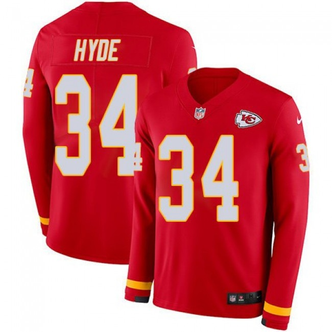 Nike Chiefs #34 Carlos Hyde Red Team Color Men's Stitched NFL Limited Therma Long Sleeve Jersey