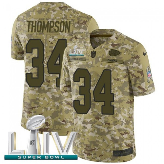 Nike Chiefs #34 Darwin Thompson Camo Super Bowl LIV 2020 Men's Stitched NFL Limited 2018 Salute To Service Jersey