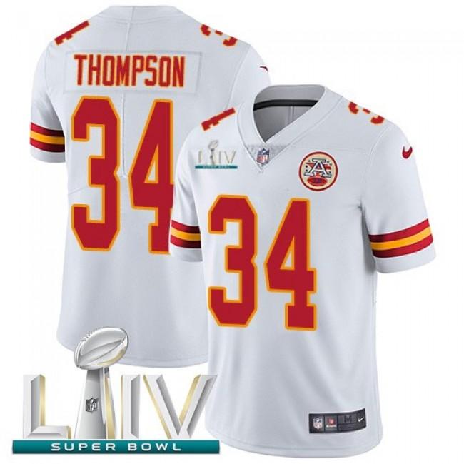 Nike Chiefs #34 Darwin Thompson White Super Bowl LIV 2020 Men's Stitched NFL Vapor Untouchable Limited Jersey
