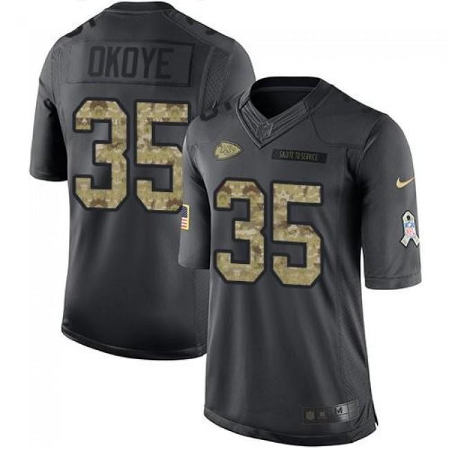 Nike Chiefs #35 Christian Okoye Black Men's Stitched NFL Limited 2016 Salute to Service Jersey