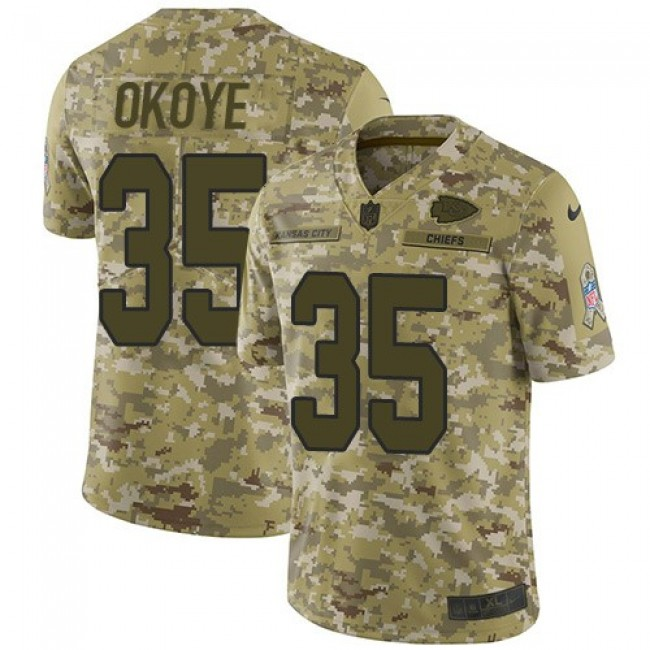 Nike Chiefs #35 Christian Okoye Camo Men's Stitched NFL Limited 2018 Salute To Service Jersey