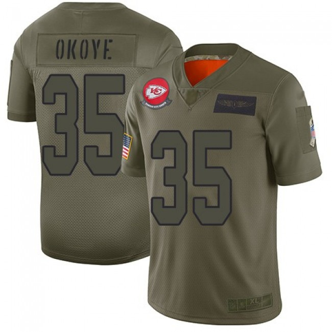Nike Chiefs #35 Christian Okoye Camo Men's Stitched NFL Limited 2019 Salute To Service Jersey