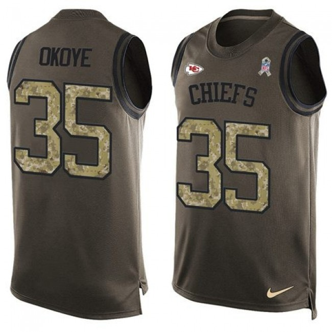 Nike Chiefs #35 Christian Okoye Green Men's Stitched NFL Limited Salute To Service Tank Top Jersey
