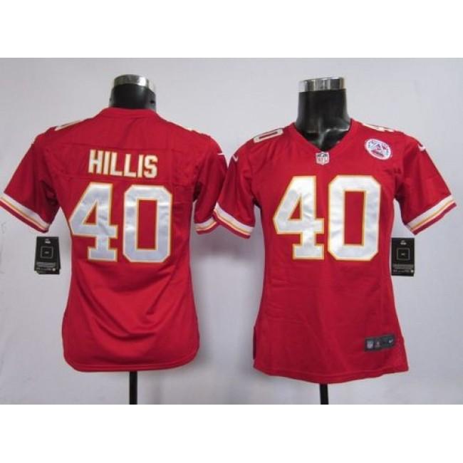 Women's Chiefs #40 Peyton Hillis Red Team Color Stitched NFL Elite Jersey