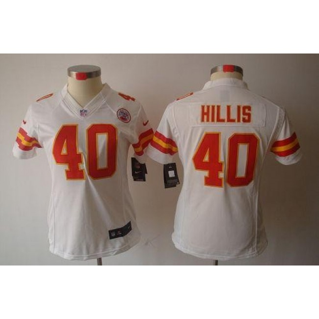 Women's Chiefs #40 Peyton Hillis White Stitched NFL Limited Jersey