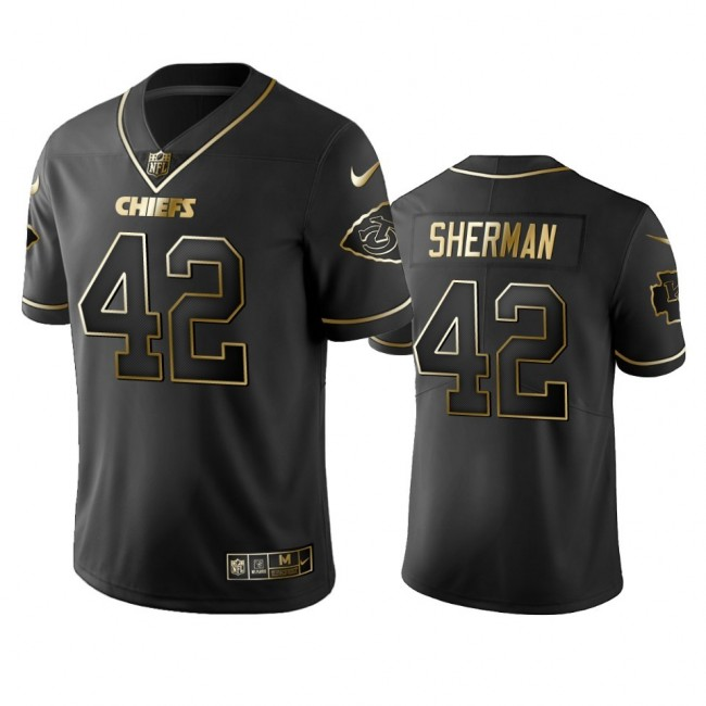 Nike Chiefs #42 Anthony Sherman Black Golden Limited Edition Stitched NFL Jersey