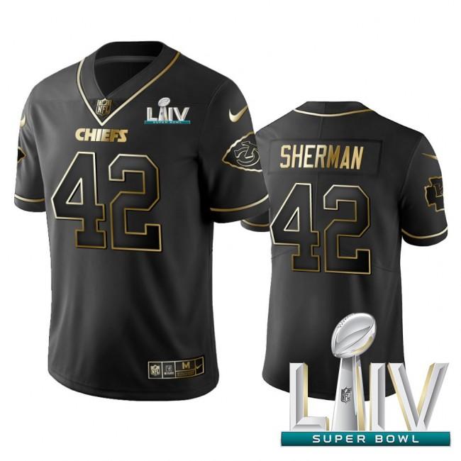 Nike Chiefs #42 Anthony Sherman Black Golden Super Bowl LIV 2020 Limited Edition Stitched NFL Jersey