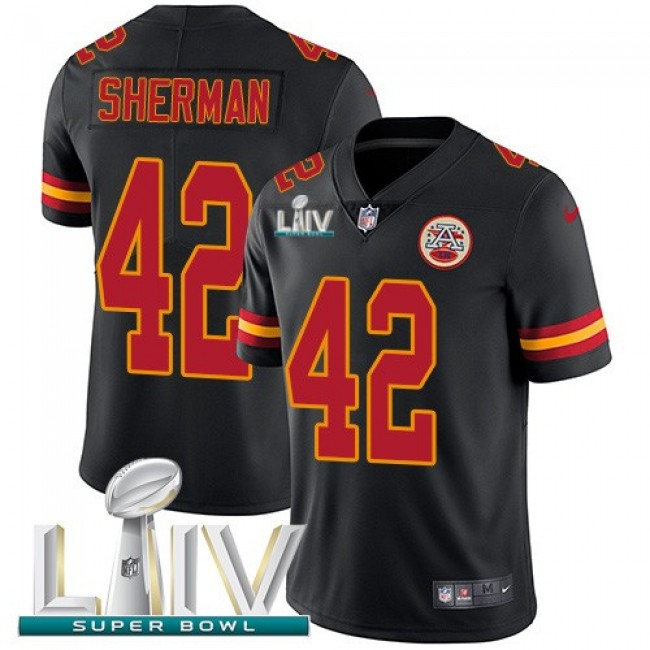 Nike Chiefs #42 Anthony Sherman Black Super Bowl LIV 2020 Men's Stitched NFL Limited Rush Jersey