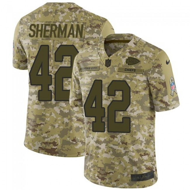 Nike Chiefs #42 Anthony Sherman Camo Men's Stitched NFL Limited 2018 Salute To Service Jersey