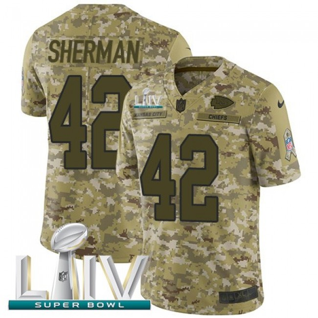 Nike Chiefs #42 Anthony Sherman Camo Super Bowl LIV 2020 Men's Stitched NFL Limited 2018 Salute To Service Jersey