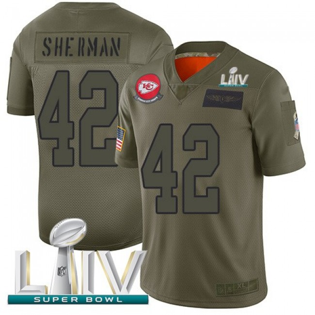 Nike Chiefs #42 Anthony Sherman Camo Super Bowl LIV 2020 Men's Stitched NFL Limited 2019 Salute To Service Jersey