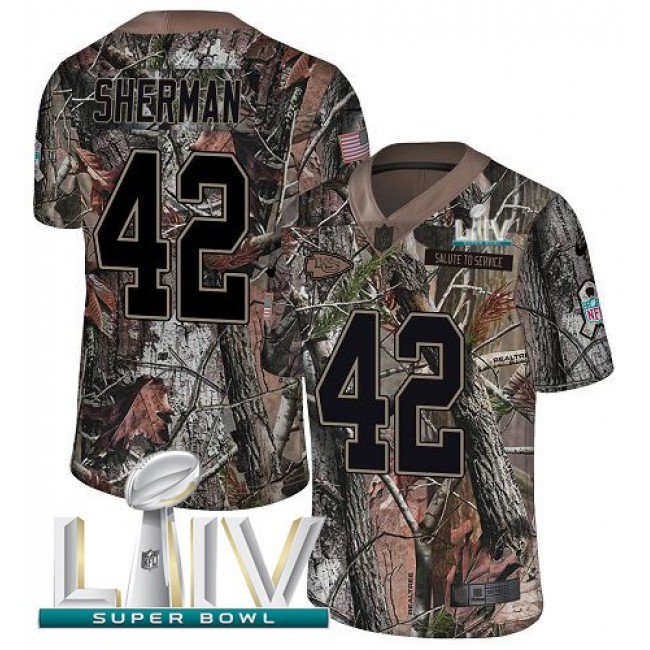 Nike Chiefs #42 Anthony Sherman Camo Super Bowl LIV 2020 Men's Stitched NFL Limited Rush Realtree Jersey