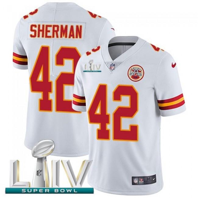 Nike Chiefs #42 Anthony Sherman White Super Bowl LIV 2020 Men's Stitched NFL Vapor Untouchable Limited Jersey