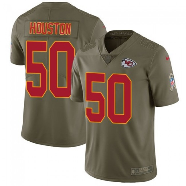 Kansas City Chiefs #50 Justin Houston Olive Youth Stitched NFL Limited 2017 Salute to Service Jersey