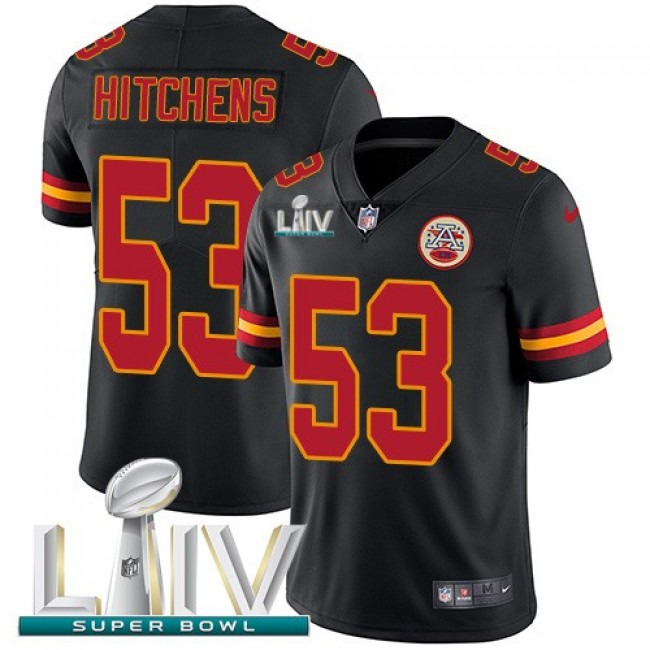 Nike Chiefs #53 Anthony Hitchens Black Super Bowl LIV 2020 Men's Stitched NFL Limited Rush Jersey