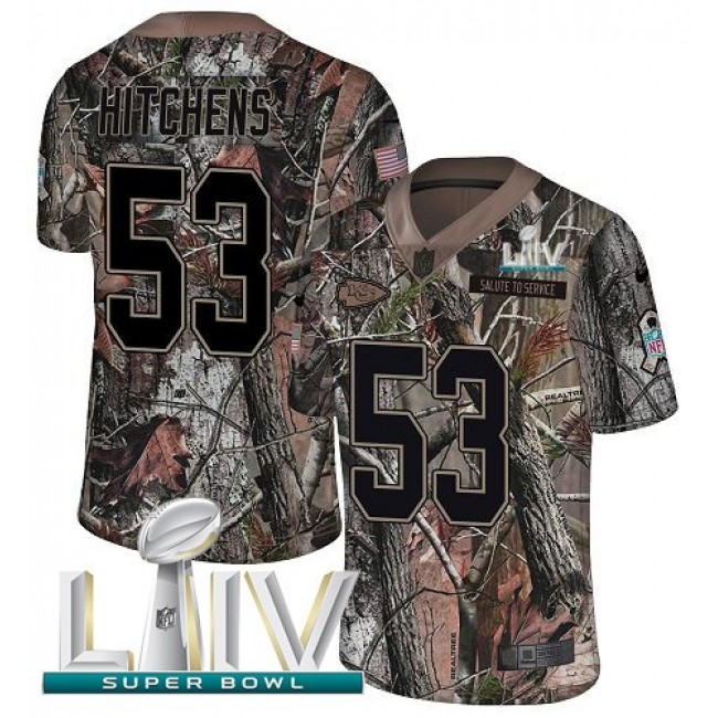 Nike Chiefs #53 Anthony Hitchens Camo Super Bowl LIV 2020 Men's Stitched NFL Limited Rush Realtree Jersey