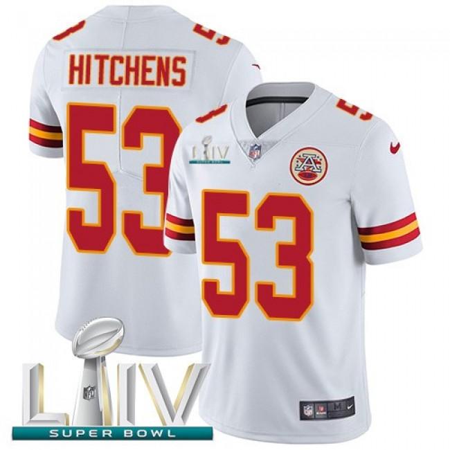 Nike Chiefs #53 Anthony Hitchens White Super Bowl LIV 2020 Men's Stitched NFL Vapor Untouchable Limited Jersey