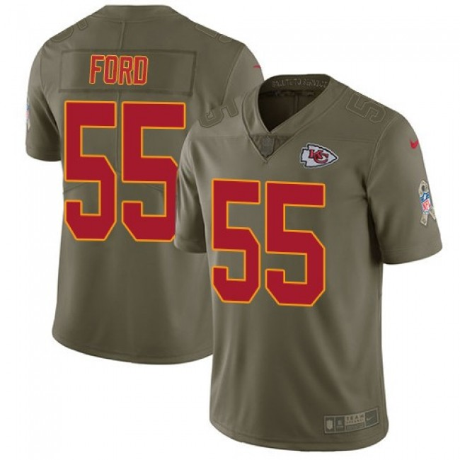 Kansas City Chiefs #55 Dee Ford Olive Youth Stitched NFL Limited 2017 Salute to Service Jersey