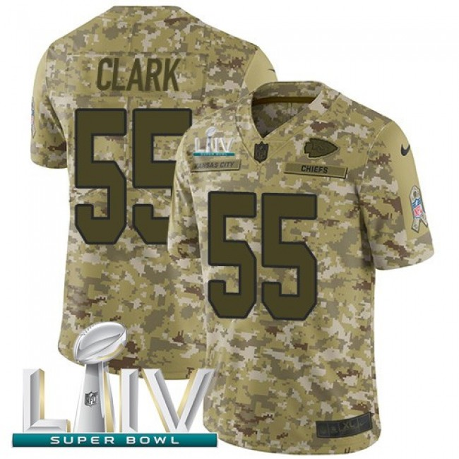 Nike Chiefs #55 Frank Clark Camo Super Bowl LIV 2020 Men's Stitched NFL Limited 2018 Salute To Service Jersey