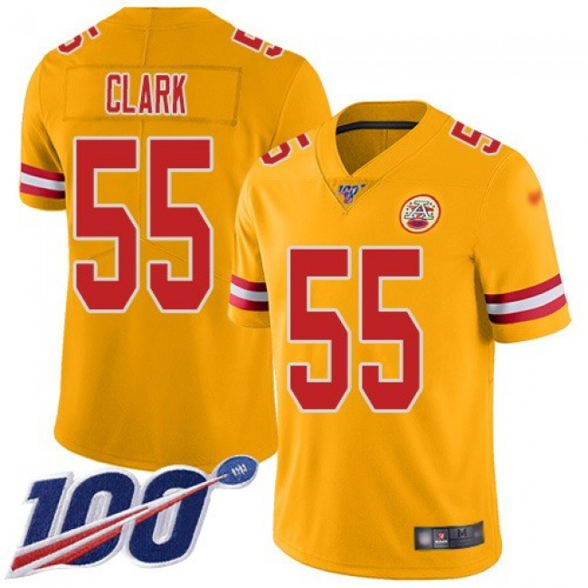 Nike Chiefs #55 Frank Clark Gold Men's Stitched NFL Limited Inverted Legend 100th Season Jersey