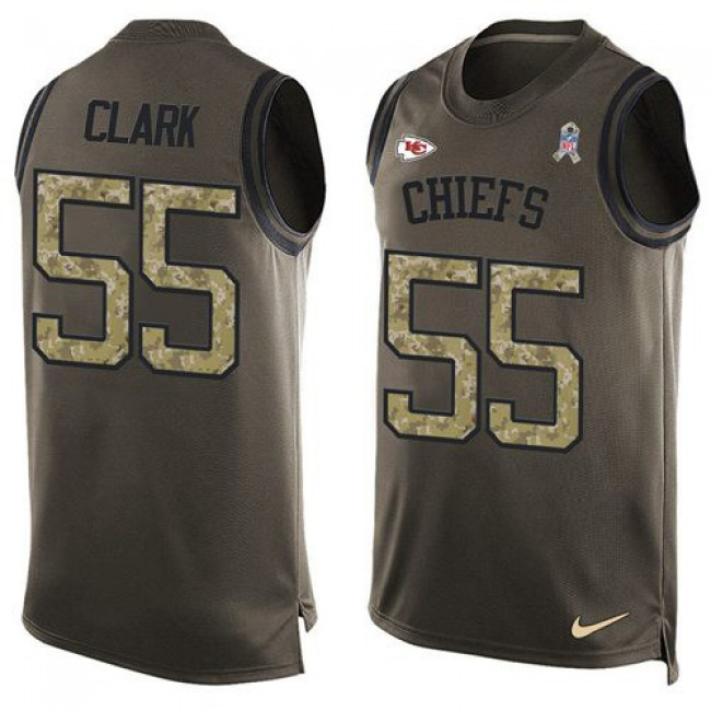 Nike Chiefs #55 Frank Clark Green Men's Stitched NFL Limited Salute To Service Tank Top Jersey