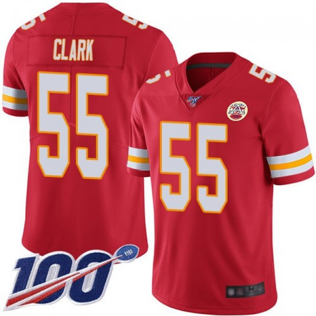 Nike Chiefs #55 Frank Clark Red Team Color Men's Stitched NFL 100th Season Vapor Limited Jersey