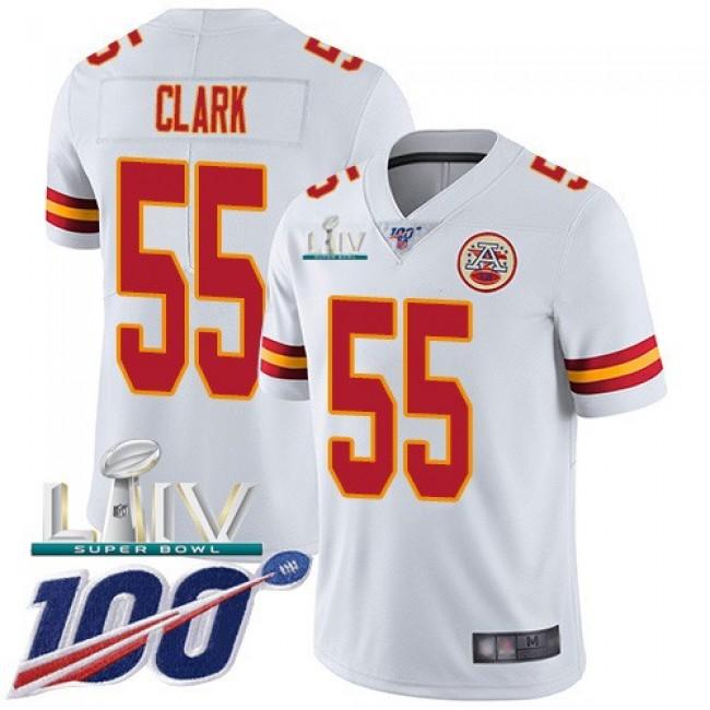 Nike Chiefs #55 Frank Clark White Super Bowl LIV 2020 Men's Stitched NFL 100th Season Vapor Untouchable Limited Jersey
